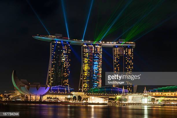 Singapore Marina Bay Sands night neon laser light show
