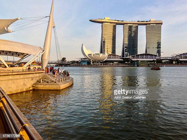 Singapore Marina Bay the Marina Bay Sands hotel and casino complex and the Esplanade outdoor theatre