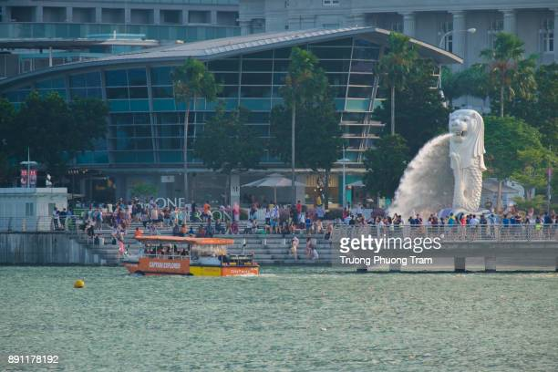 Singapore, May 07, 2015: Merlion spray water in Singapore