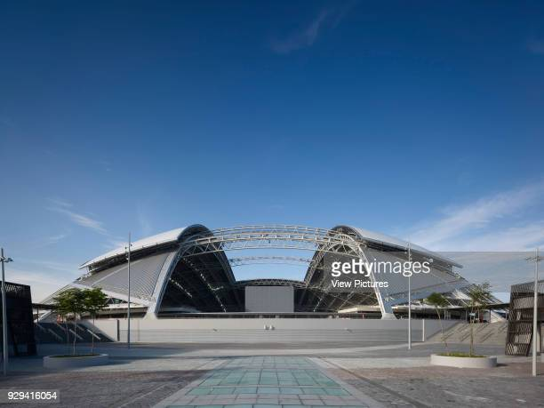 Singapore National Stadium Singapore Singapore Architect Arup Associates 2014 Rear elevation from landscaped public square with dome roof structure...