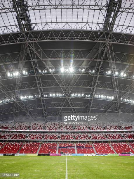 Singapore National Stadium Singapore Singapore Architect Arup Associates 2014 Symmetrical elevation with sports field tier and roof structure