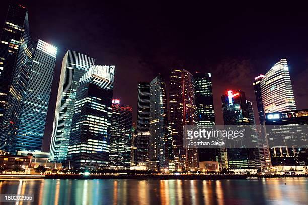 Singapore Neon City Skyline