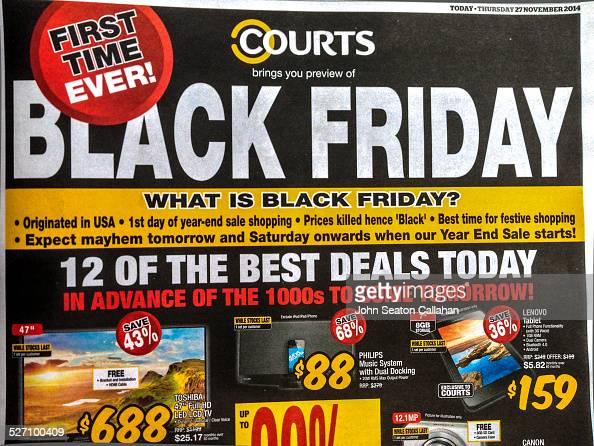 Singapore Newspaper Advertisement For Black Friday From Courts An News Photo Getty Images