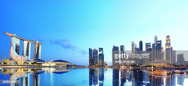 singapore panoramic scenery - marina bay sands stock-fotos und bilder