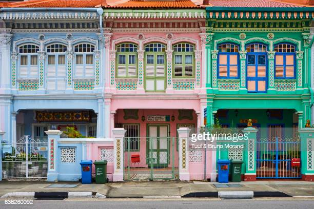 singapore, peranakan houses in euros district - singapore stock pictures, royalty-free photos & images