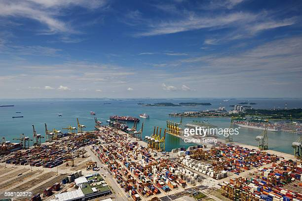 Singapore port container yard