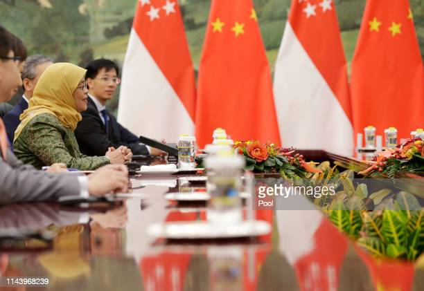 Singapore President Halimah Yacob attends a meeting with Chinese Premier Li Keqiang at the Great Hall of the People on May 15 2019 in Beijing China