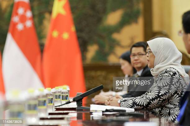 Singapore President Halimah Yacob attends a meeting with Chinese President Xi Jinping at the Great Hall of the People on May 14 2019 in Beijing China
