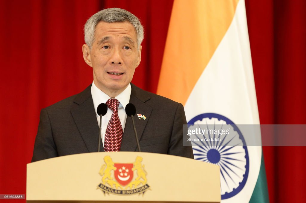 Singapore Prime Minister, Lee Hsien Loong speaks during a joint press conference at the Istana on June 1, 2018 in Singapore. Narendra Modi is on a three day official visit to Singapore.
