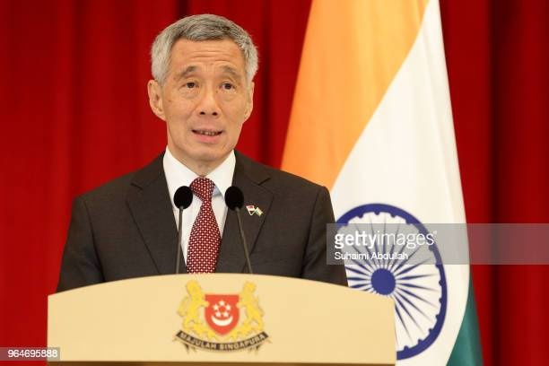 Singapore Prime Minister Lee Hsien Loong speaks during a joint press conference at the Istana on June 1 2018 in Singapore Narendra Modi is on a three...