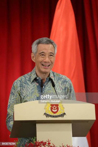Singapore Prime Minister Lee Hsien Loong speaks during the Joint Press Conference between Singapore and Indonesia at the Istana on September 7 2017...