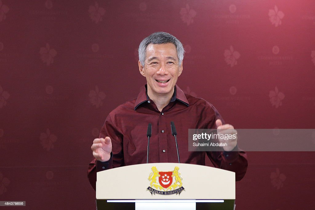 Singapore Prime Minister, Lee Hsien Loong speaks during the unveiling ceremony of the SG50 commemorative notes at Monetary Authority of Singapore (MAS) building on August 18, 2015 in Singapore. MAS unveils a set of six commemorative currency notes, a $50 polymer note and five $10 polymer notes to mark Singapore's 50 years of nation- building.