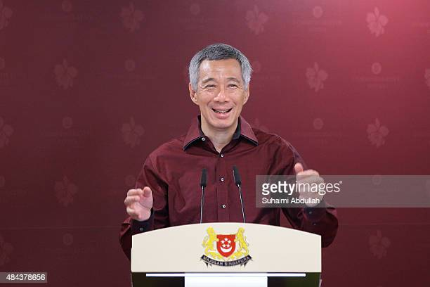 Singapore Prime Minister Lee Hsien Loong speaks during the unveiling ceremony of the SG50 commemorative notes at Monetary Authority of Singapore...