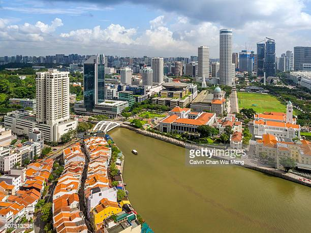 singapore river and city skyline view from ocbc bank - canberra stock pictures, royalty-free photos & images