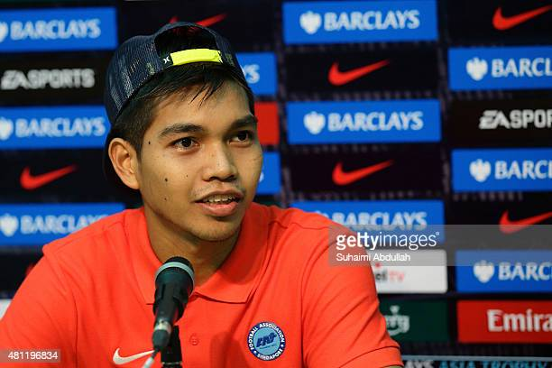 Singapore Select XI goalkeeper Izwan Mahbud speaks during a press conference after the Barclays Asia Trophy match between Stoke City and Singapore...