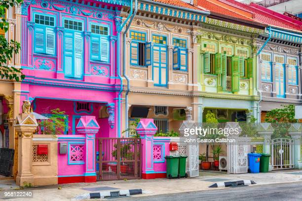 singapore, shophouses on koon seng road - famous place stock pictures, royalty-free photos & images