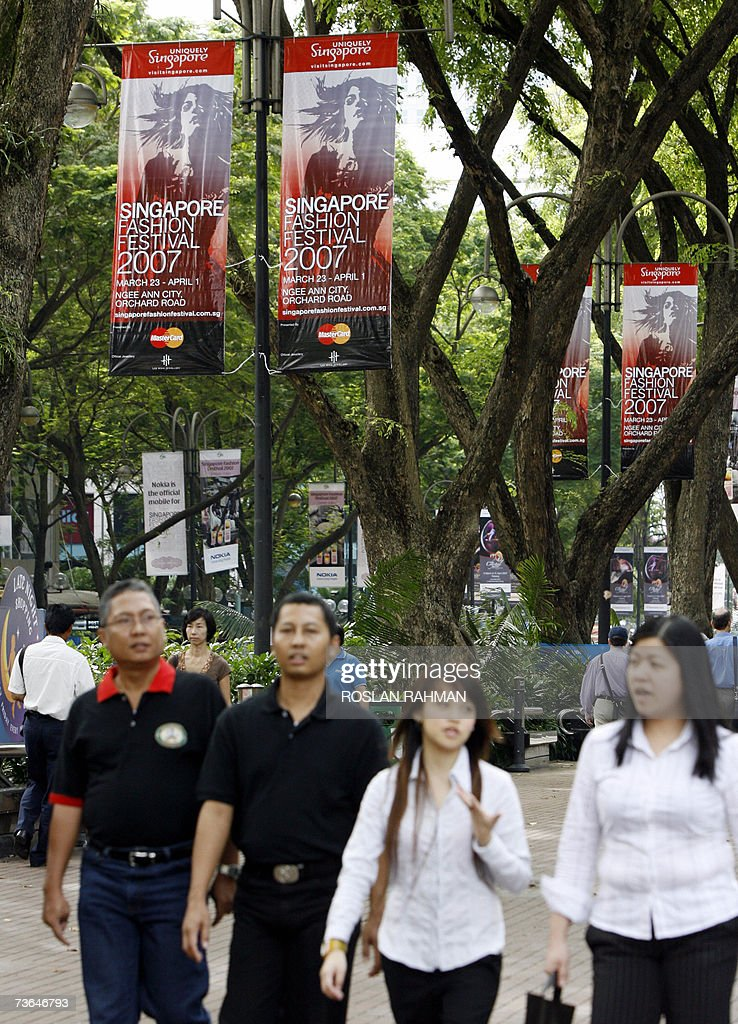 Banners hang on lamp-posts along Orchard... Pictures   Getty Images