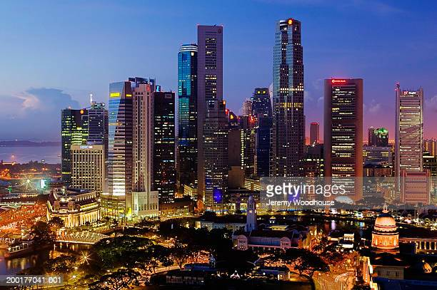singapore, singapore city, city skyline at dawn, elevated view - travel14 stock pictures, royalty-free photos & images