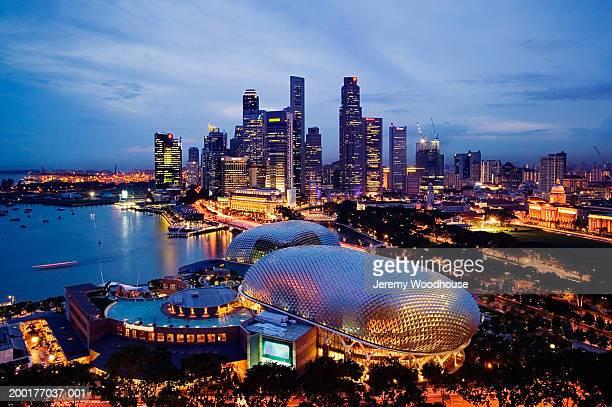 Singapore, Singapore City, city skyline at dusk, elevated view