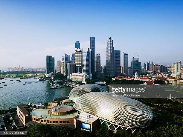 Singapore, Singapore City, city skyline, elevated view
