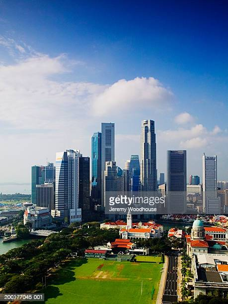 singapore, singapore city, city skyline, elevated view - travel14 stock pictures, royalty-free photos & images