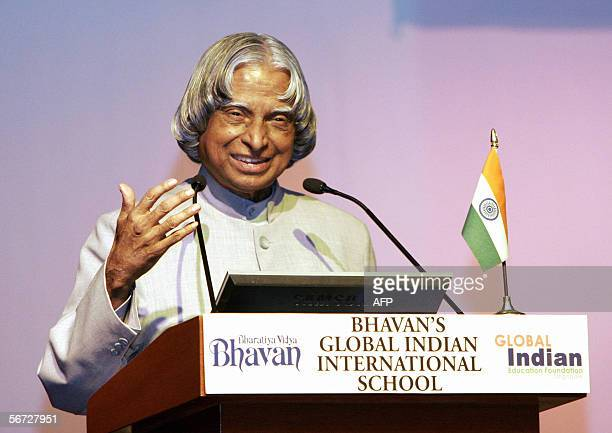 Indian President Abdul Kalam delivers a speech during his visit to Bhavan's Global Indian International School in Singapore 02 February 2006 Kalam is...
