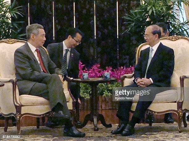 Singapore - Singapore Prime Minister Lee Hsien Loong holds talks with Myanmar President Thein Sein at the presidential office in Singapore on Jan....