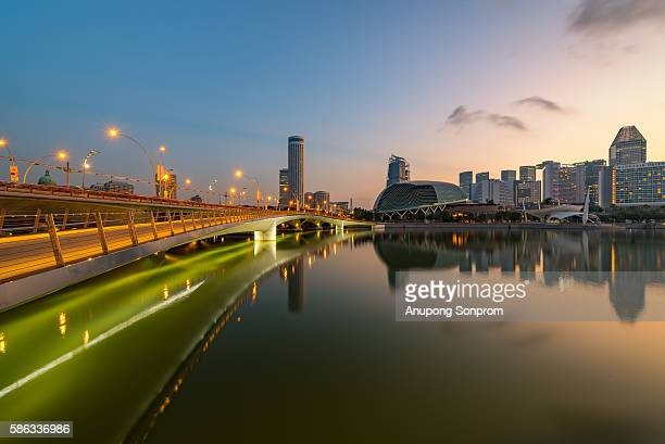 Singapore sky line and sunrise