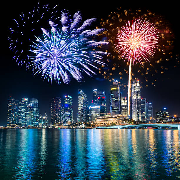 Singapore Skyline And Marina Bay With Fireworks Wall Art