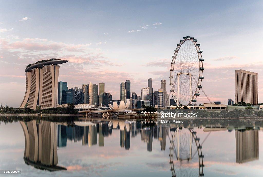 Singapore skyline at dawn : Stock Photo