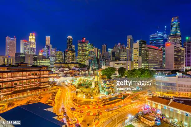 singapore skyline at dawn - marina square stock photos and pictures