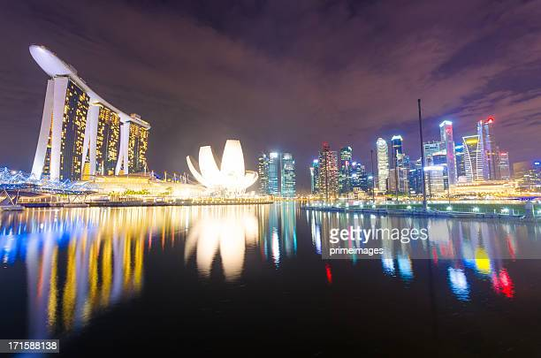 singapore skyline at night with reflection in river - merlion stock pictures, royalty-free photos & images