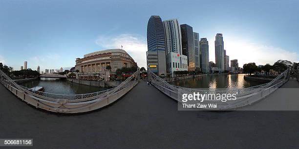 Singapore Skyline from Cavenagh Bridge