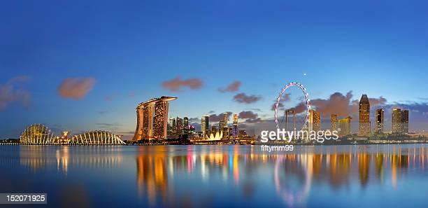 singapore skyline - マリーナ湾 ストックフォトと画像
