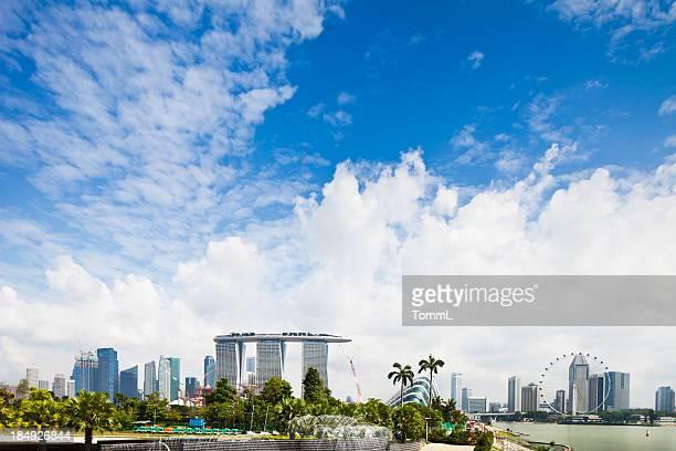 singapur skyline - marina bay sands stock-fotos und bilder