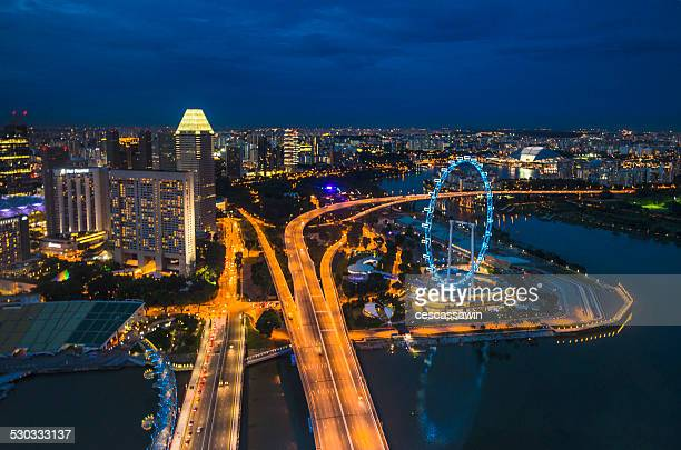 singapore skyline - singapore flyer stock photos and pictures