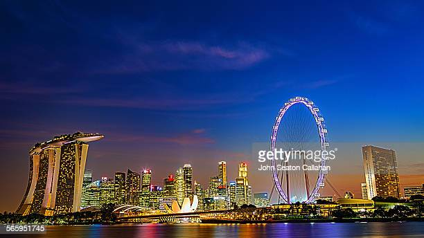 singapore skyline - marina bay singapore stock pictures, royalty-free photos & images
