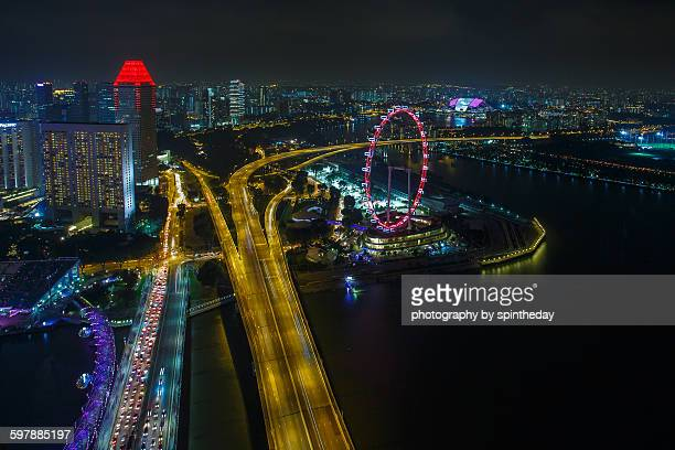 singapore skyline - marina bay sands skypark stock pictures, royalty-free photos & images