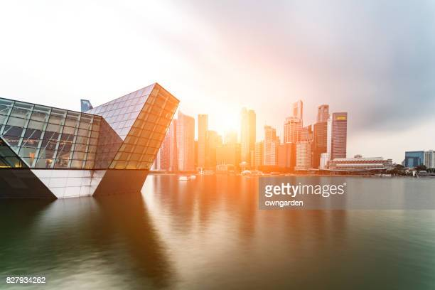 singapore skyline - singapore stock photos and pictures