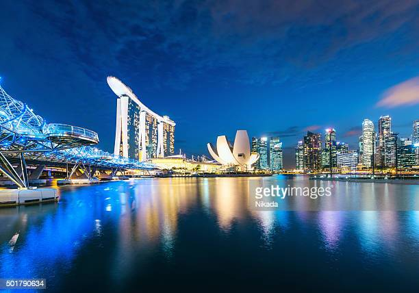 Singapore Skyline reflecting in water