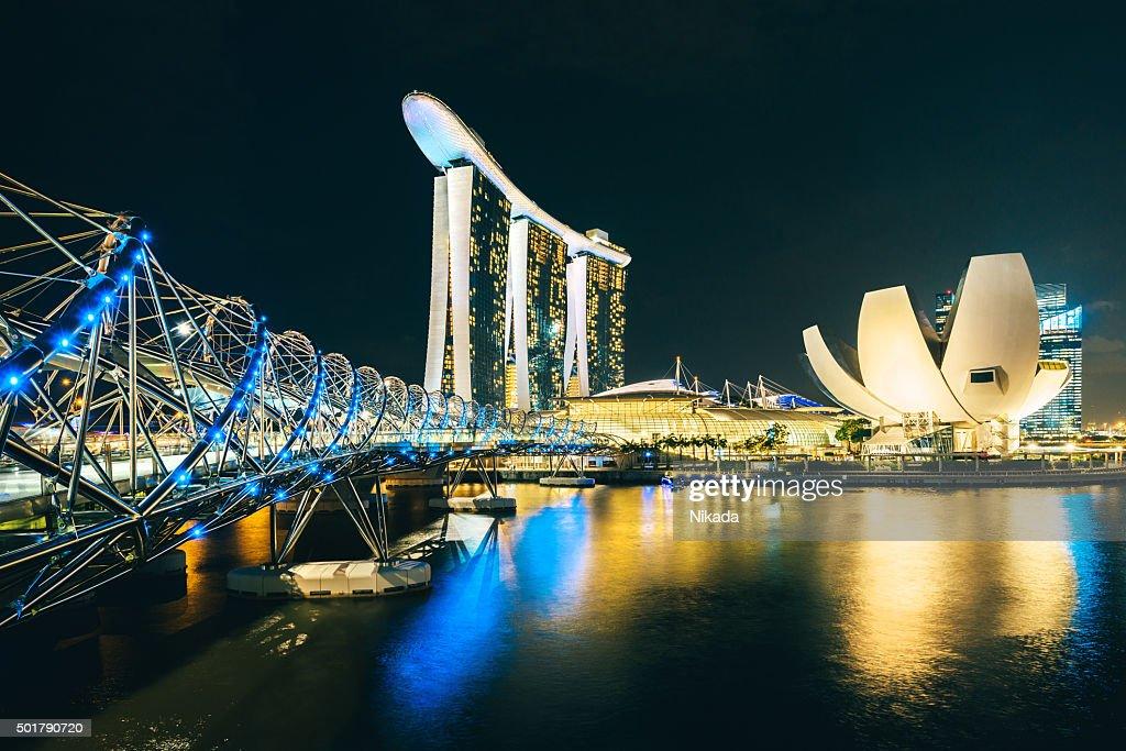 Singapore Skyline reflecting in water : Stock Photo