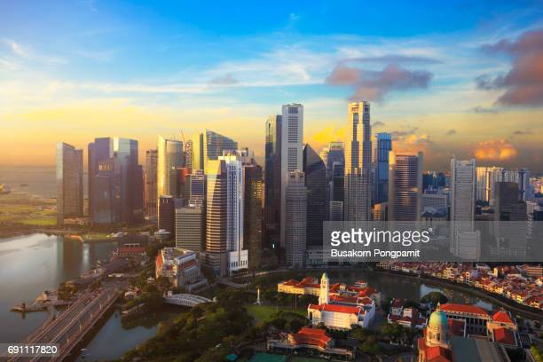 Singapore Skyline, Singapore business district in morning time