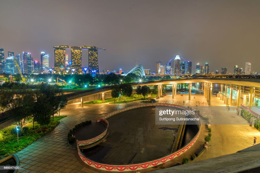 Singapore Skyline. Singapore`s business district, blue sky and night view for marina bay : Stock Photo