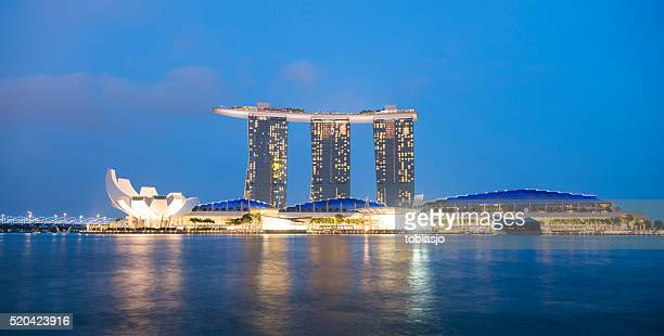 singapore skyline with marina bay sands hotel - marina square stock photos and pictures