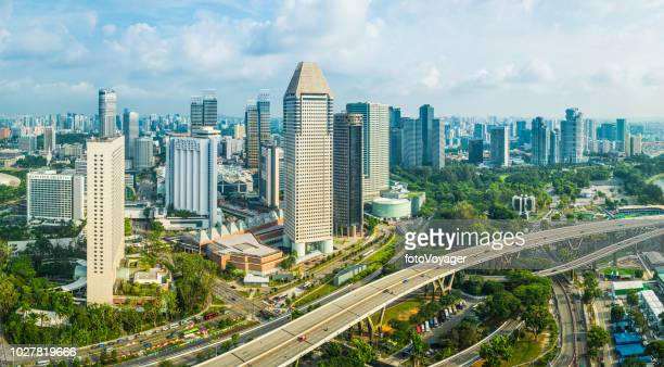 singapore skyscraper skyline aerial cityscape marina bay downtown highways panorama - capital cities stock photos and pictures