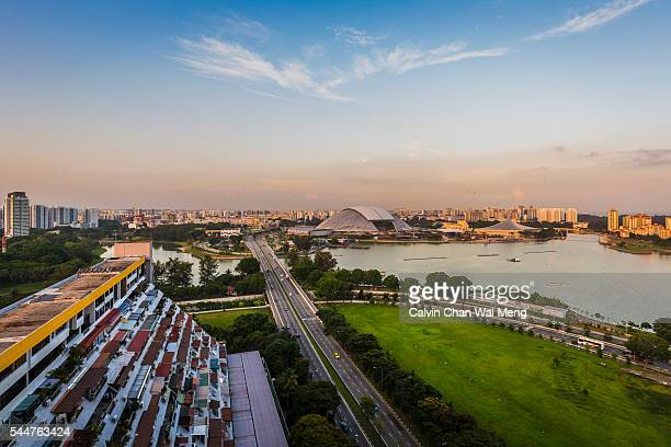 Singapore Sports Hub view from high vantage point