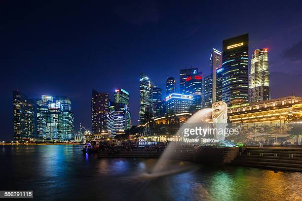 singapore, the merlion, exterior - merlion stock pictures, royalty-free photos & images