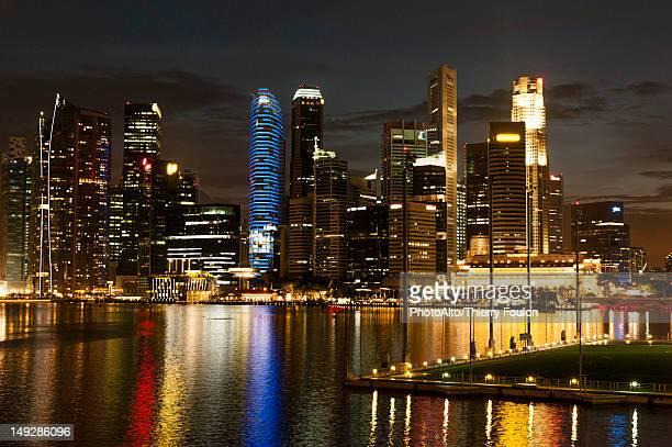 Singapore, waterfront skyline viewed from esplanade at night