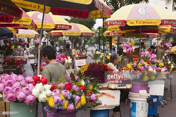 Singapore, Waterloo Street, flower vendors