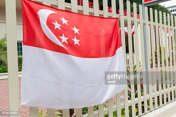 Singaporean Flag on a Fence